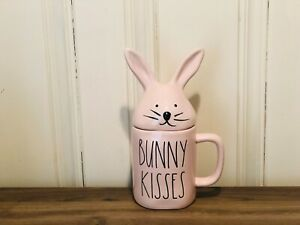 Rae-Dunn-Easter-By-Magenta-Pink-BUNNY-KISSES-Bunny-Ears-Lid-Topper-Farmhouse-Mug