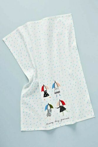 NWT Anthropologie Lilly Vanderploeg Embroidered Rainy Day Parade Dish Towel