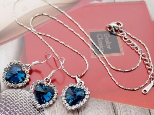 Corazón schmuckset en turquesa plata aretes circonita cristales titanic collar