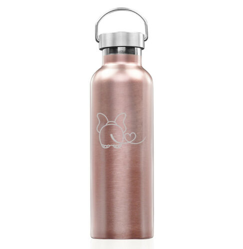 Rose Gold Double Wall Stainless Steel Tumbler Travel Mug Elephant In Love
