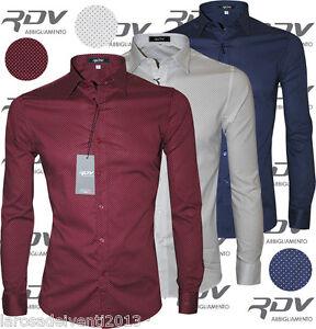 Camicia Uomo Aderente Slim Fit S M L XL XXL Bianco Blu RDV Abbigliamento da uomo