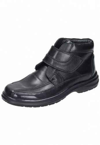 Comfortabel Herren Schuhe Stiefel Stiefellette Klett Boots 670499 Leder schwarz