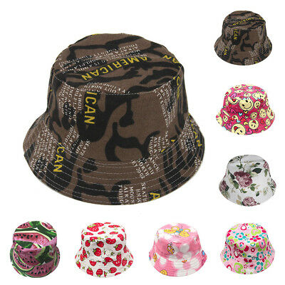 5f742753 Kids Bucket Hat Cap Baby Summer Hats Boy Girls Sun Hats Canvas Beach Hat  Cotton   eBay