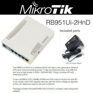 Details about Mikrotik Routerboard RB951Ui-2HnD Wireless Access Point  1000mW 5 LAN OSL4