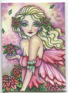 ACEO S/N L/E CHRISTMAS POINSETTIA FAIRY PINK BLONDE GREEN EYES RARE ART PRINT
