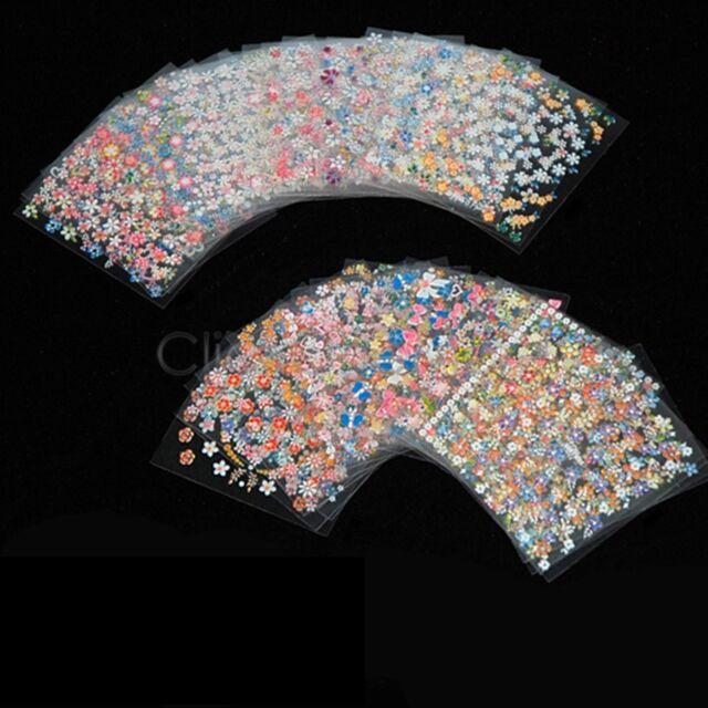EZI - 50 Sheets 3D Nail Art Stickers Manicure Tips Mix Flower Decals
