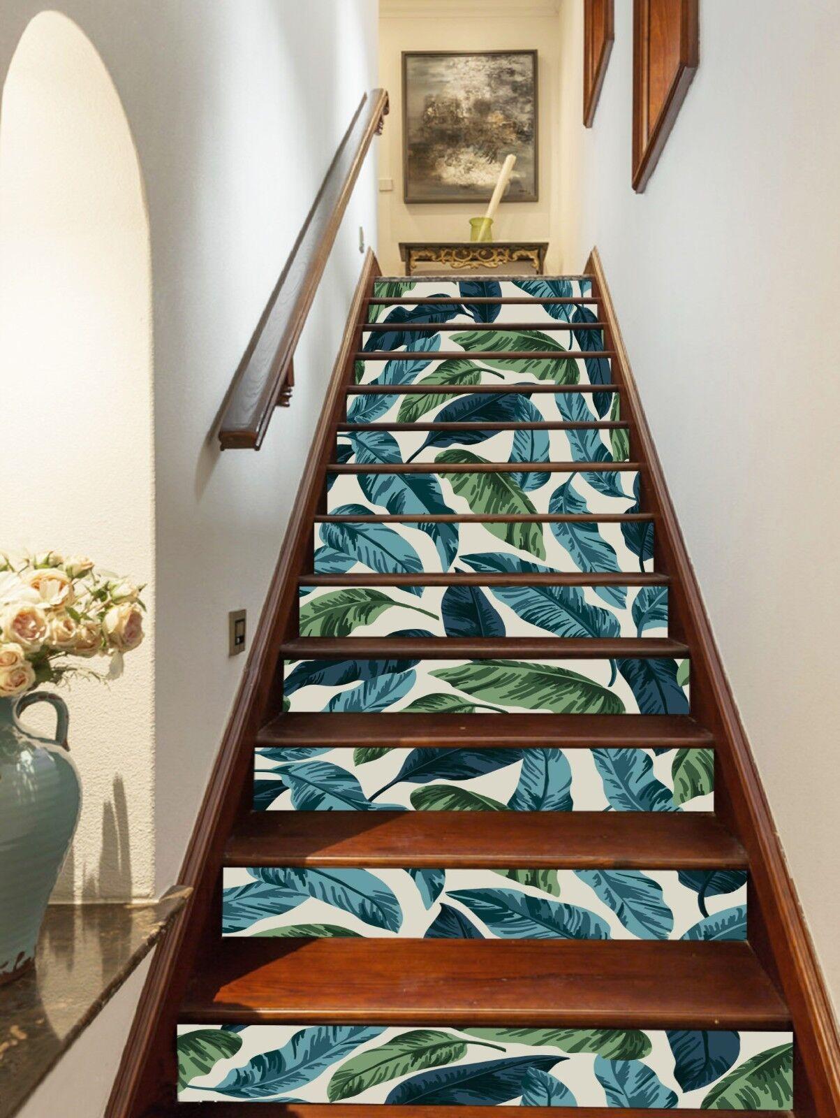 3D Grün hinterlässt Stair Risers Dekoration Foto Mural Vinyl Decal Wallpaper AU