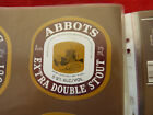 VINTAGE AUS BEER LABEL. CARLTON & UNITED - ABBOTS EXTRA DOUBLE STOUT 375ML 65DS