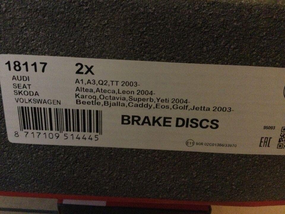 Bremsedele, Bremseskiver, Audi A3