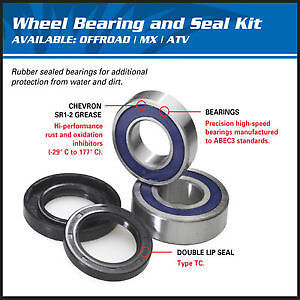 Kawasaki KX250F 2012 2013 2014 Front Wheel Bearings Seals Kit 25-1079