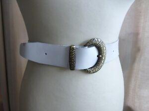 8b8332857 Vintage 80s thick white leather belt 14 16 18 VGC classic cowboy ...