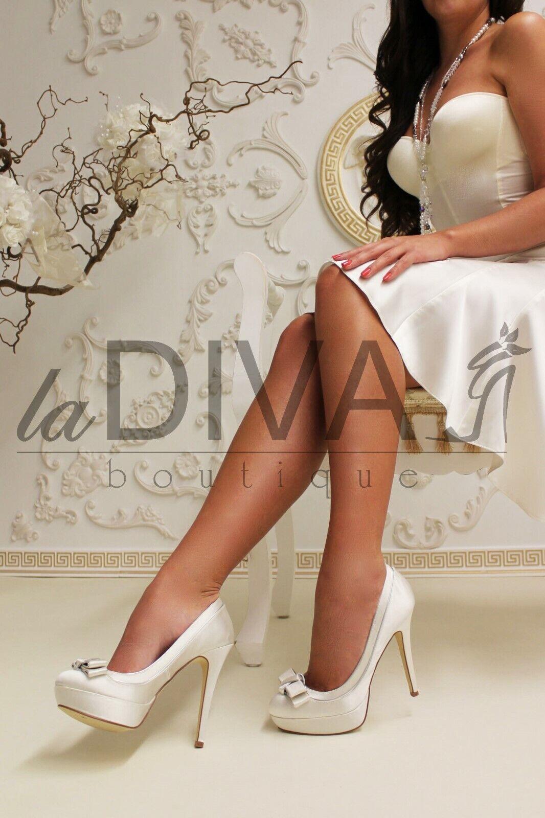 mänbur Pumpar Satin med Bow 37 Ivory Ivory Ivory vit Gloss Bridal skor  bästa kvalitet bästa pris