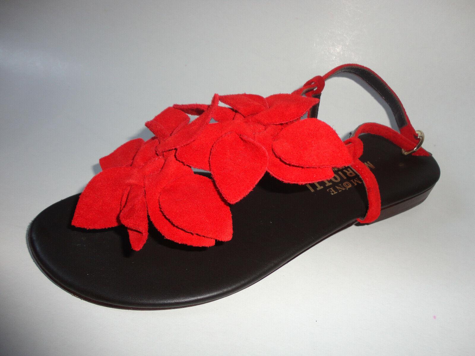 Leder Schuhe Sandalen Sandalette Gr.38 rot zu Kleid Rock Jacke Hose