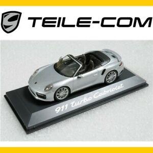 ORIG-Porsche-911-991-II-Turbo-Cabrio-Rhodiumsilber-Met-Modellauto-Massstab-1-43