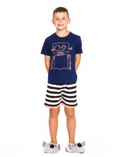 Boys PJs Size 3-7 Summer 2pc Short Sleeve Pyjamas Navy Robot LAST ONES