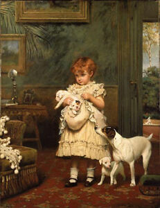 Art-Oil-painting-Charles-Burton-Barber-Girl-with-Dogs-Puppy-in-room-on-canvas