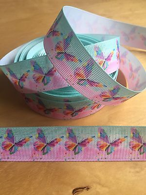 Adaptable Marca Nueva 1 Metros-rosa Y Menta Pastel Mariposa Diseño Cinta Del Grosgrain - 22mm Apariencia Elegante