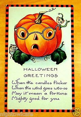 HALLOWEEN FORTUNE Jack O'Lantern Black Orange Check Border Whitney Postcard 1924