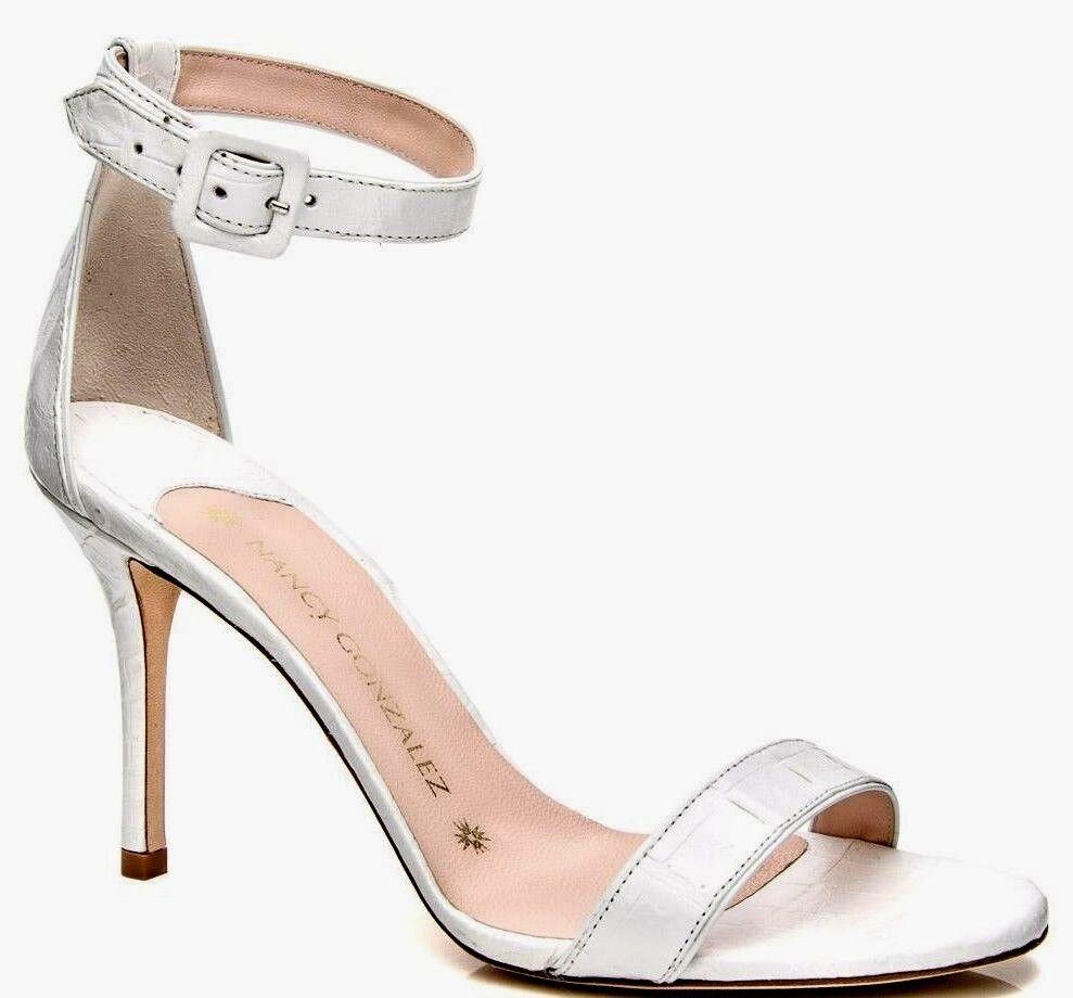 negozio online outlet Nuovo Nancy Gonzalez Tina 90 Sandali con Cinturino Cinturino Cinturino Alla Caviglia Bianco  vendita con alto sconto