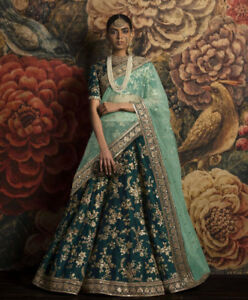 Women Bridal Lengha Green Heavy Embroidery Lehenga Choli Indian