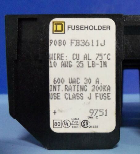 SQUARE D 600VAC 30A 3-POLE CLASS J FUSEHOLDER 9080 FB3611J *PZF*