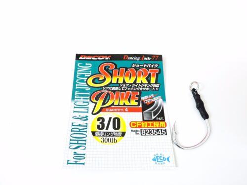 4pcs Decoy DJ-77 Short Pike For Shore /& Light Jigging Size #3//0