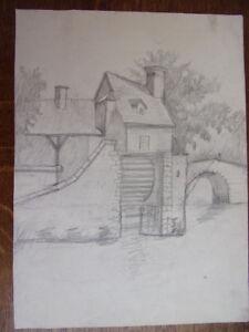 2 Dessins Au Crayon, Moulin à Aubes, Pont Sur Rivière Circa 1940