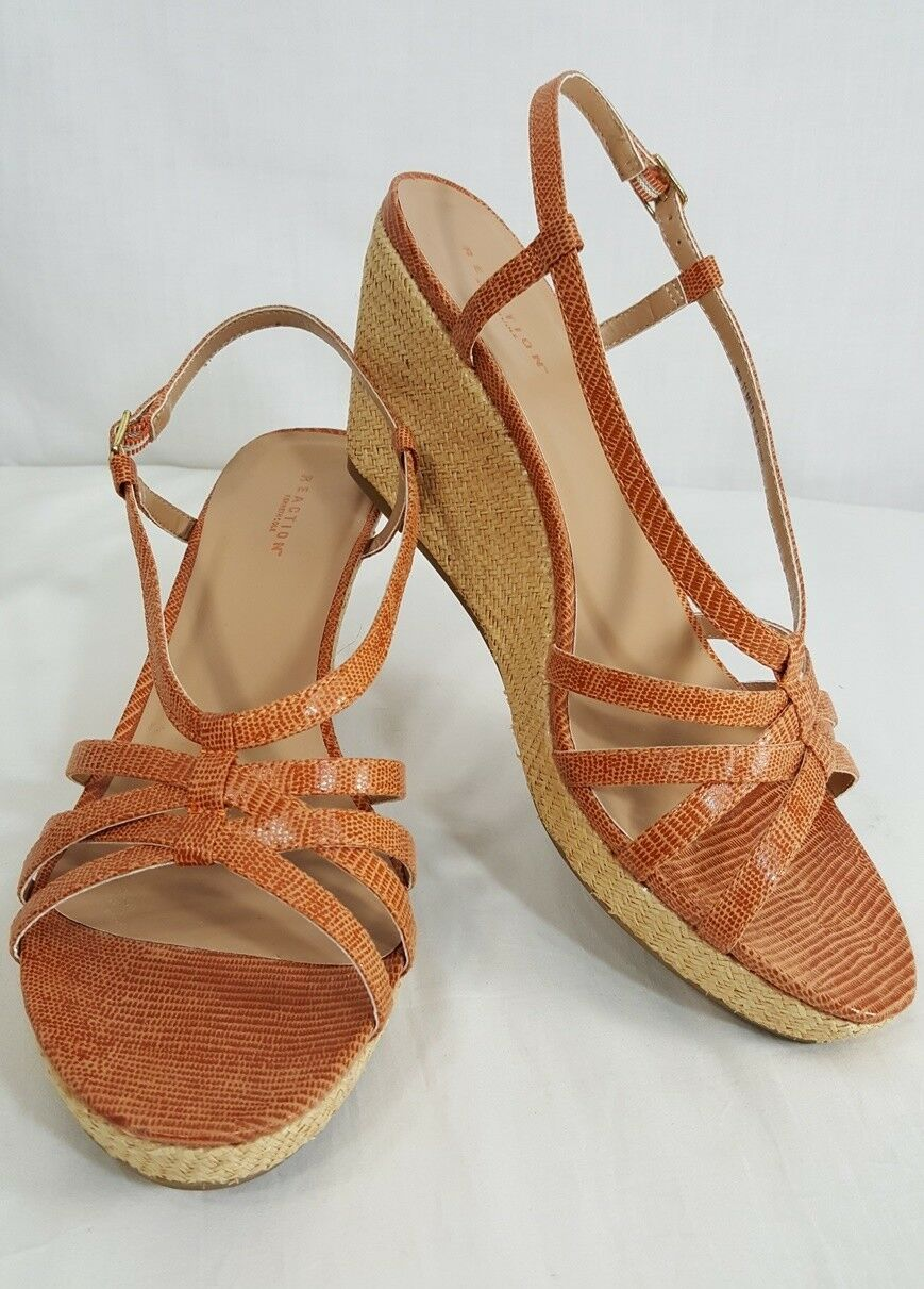 Kenneth Cole Reaction Wedge Sandals Size 11 M Womens orange