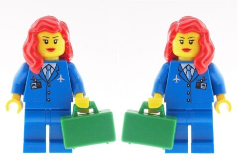 LEGO 2 x Air Hostess Town City Minifigs with Red Hair Female NEW Girls