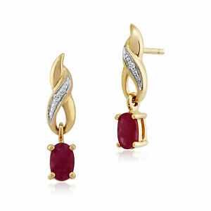 9ct-Yellow-Gold-0-57ct-Natural-Ruby-amp-Diamond-Classic-Drop-Earrings