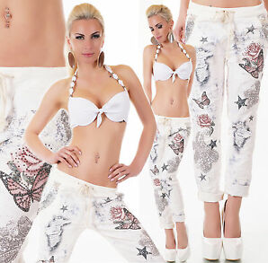 NEW COLLECTION MADE IN ITALY Jeans Hose Strass mehrfarbig Einheitsgr. 36-38
