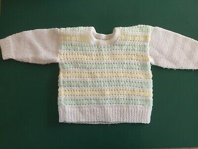 Delicious Hand Knitted Mint Green/lemon/white Striped Baby Jumper Sweaters 6 Months