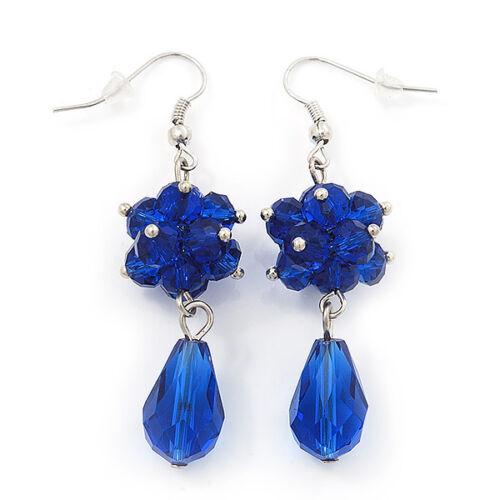 Royal Blue Glass Beaded Drop Earrings In Silver Plating - 5.5cm Length