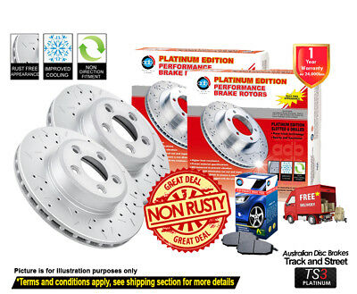 DIMPL SLOTTED FRONT DISC BRAKE ROTORS PADS for Mitsubishi Pajero NM NP 2000-06