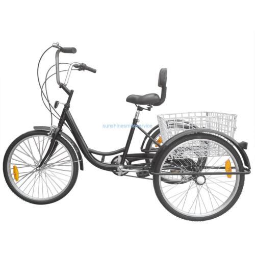 "24/"" 3-Wheel Adult Tricycle Bicycle 6-Speed Trike Cruise Bike Basket Black//White"