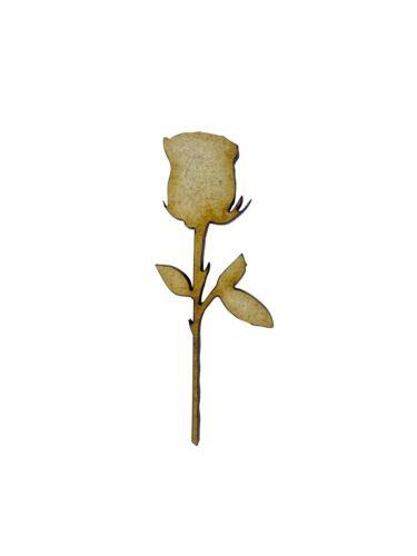 Planta De Flor Rosa 16x 5cm Madera Craft Embelishments Forma De Corte Láser Mdf