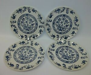 Vintage-BLUE-ONION-China-7-034-Bread-Dessert-Plates-Set-of-4