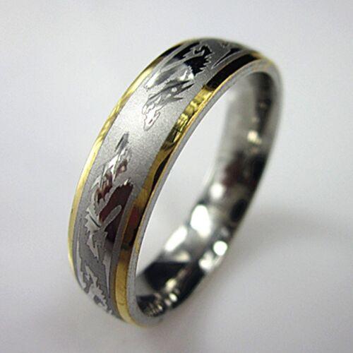 316L Stainless Steel Dragon Pattern Ring Men/'s Finger