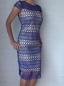 Women-Cap-Sleeve-Blue-Crochet-Party-Evening-Cocktail-Shift-Midi-Dress-Size-14-16