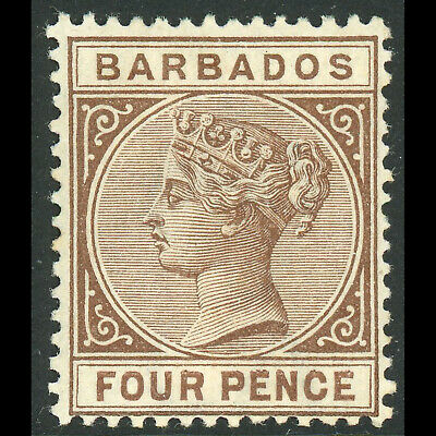 Apprehensive Barbados 1882 4d Deep Brown wb168 Lightly Hinged Mint. Sg 99