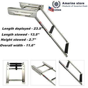 2-step-Under-Platform-Slide-Mount-Boat-Stainless-Boarding-Ladder-Telescoping-US
