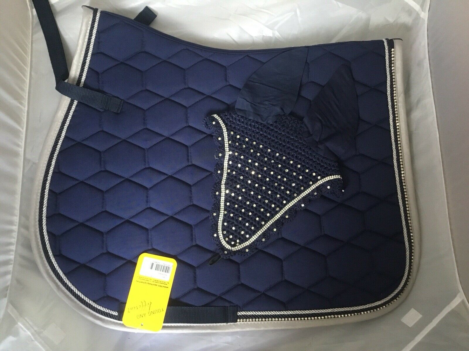 HKM Navy bluee GP Saddle Pad With Crystals & Long Veil - Cob Full