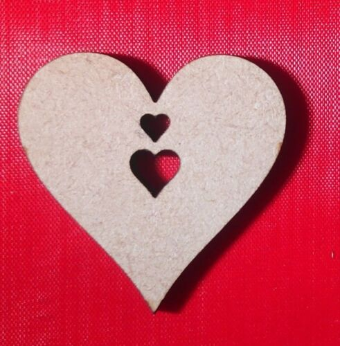 Rustic Laser Cut Wood MDF Hearts  pack of 1 or 5 Christmas Craft Nordic