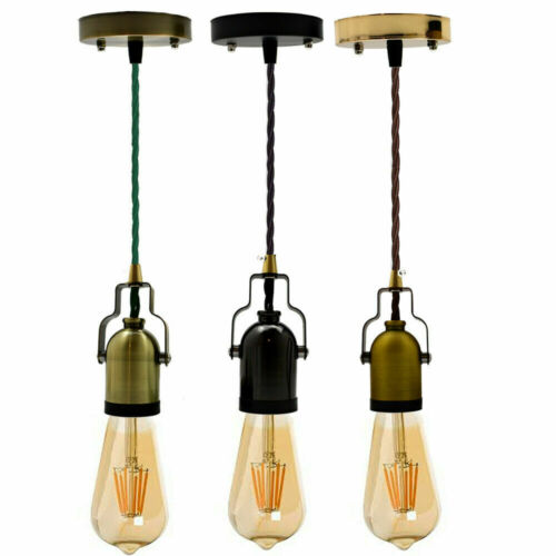Vintage Ceiling Rose Fabric Flex Hanging Pendant Lamp Holder E27 Lighting Kit UK