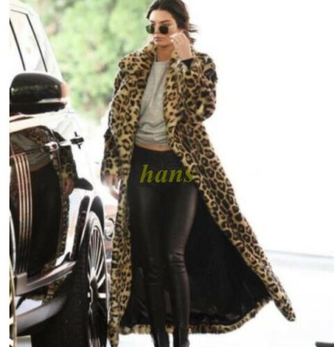 Leopard Coat Women's Winter Lang xl Varm Trench Furry Faux Fur Jakke S 1q6Zw6