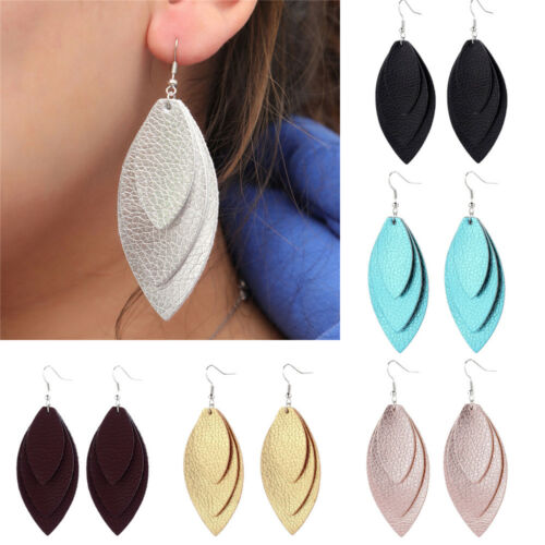Faux Leather Feather Earrings Cutting Leaf Ear Hook Sequins Drop Dangle Earring