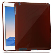 Flexible Glossy Luxurious Rubberised Back Cover For Apple iPad 3 -Brown