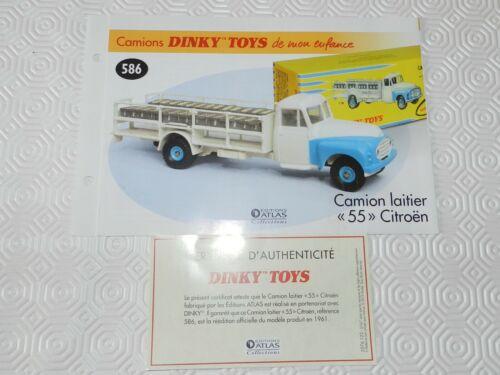 dinky 586 fiche ertificat camion laitier 55 citroen