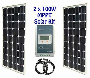 200w 2x 100w solar panel kit panneau solaire mppt charge controller r gulateur ebay. Black Bedroom Furniture Sets. Home Design Ideas