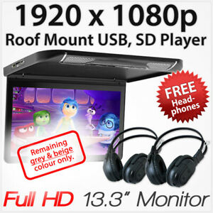 """13.3"""" Car Monitor USB SD Card Player HDMI Roof Mount In Car Flip Down Vehicle OZ"""